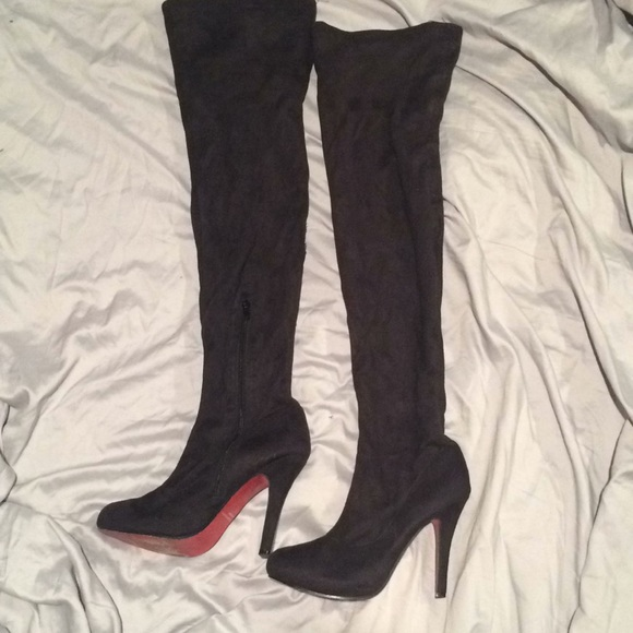 51d4e0a0a2c Red bottom Suede thigh high boots